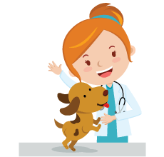 Cartoon veterinarian with a dog