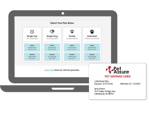 Computer showing Pet Assure plans screen and member ID card
